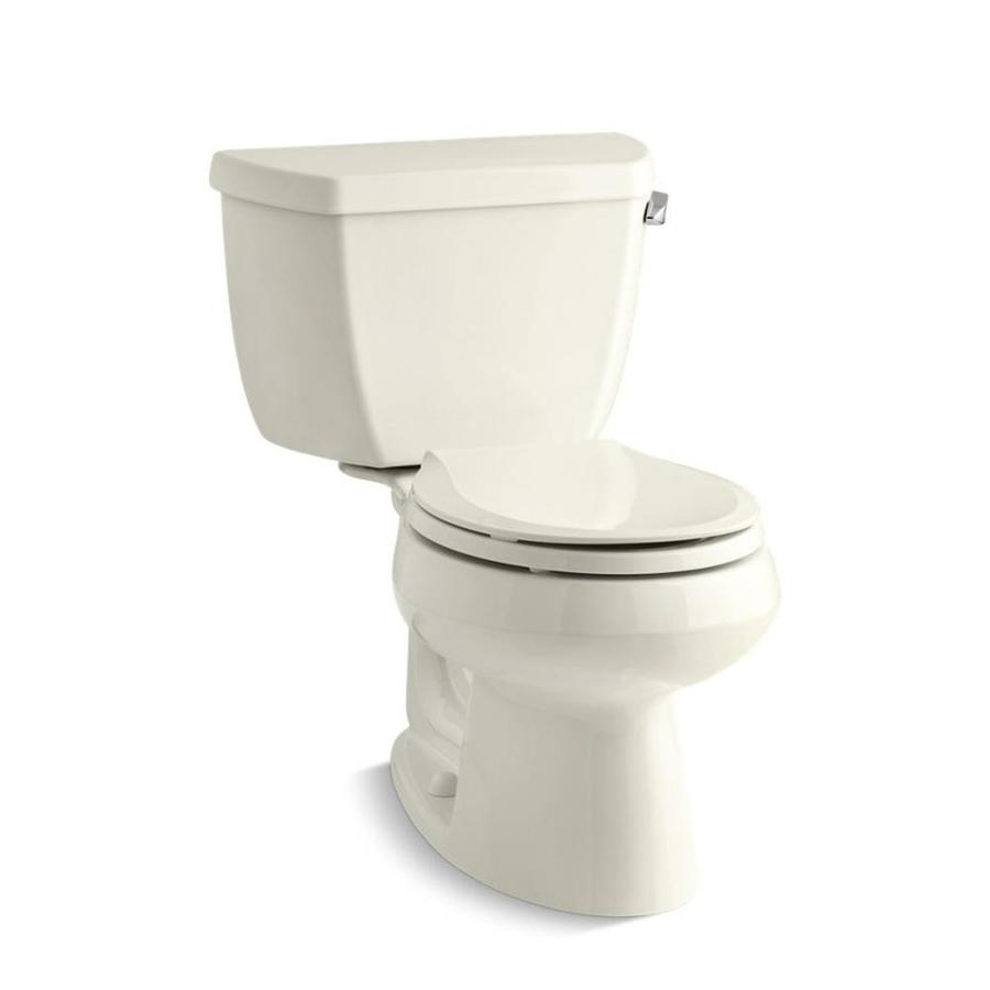 KOHLER Wellworth Biscuit 1.28-GPF (4.85-LPF) 12 Rough-In WaterSense Round 2-Piece Standard Height Toilet
