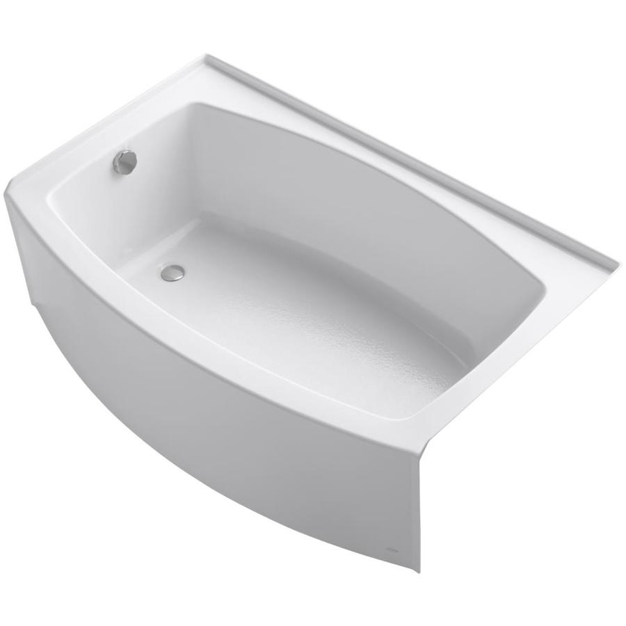 KOHLER Expanse White Acrylic Rectangular Skirted Bathtub with Left-Hand Drain (Common: 38-in x 60-in; Actual: 17-in x 38-in x 60-in)