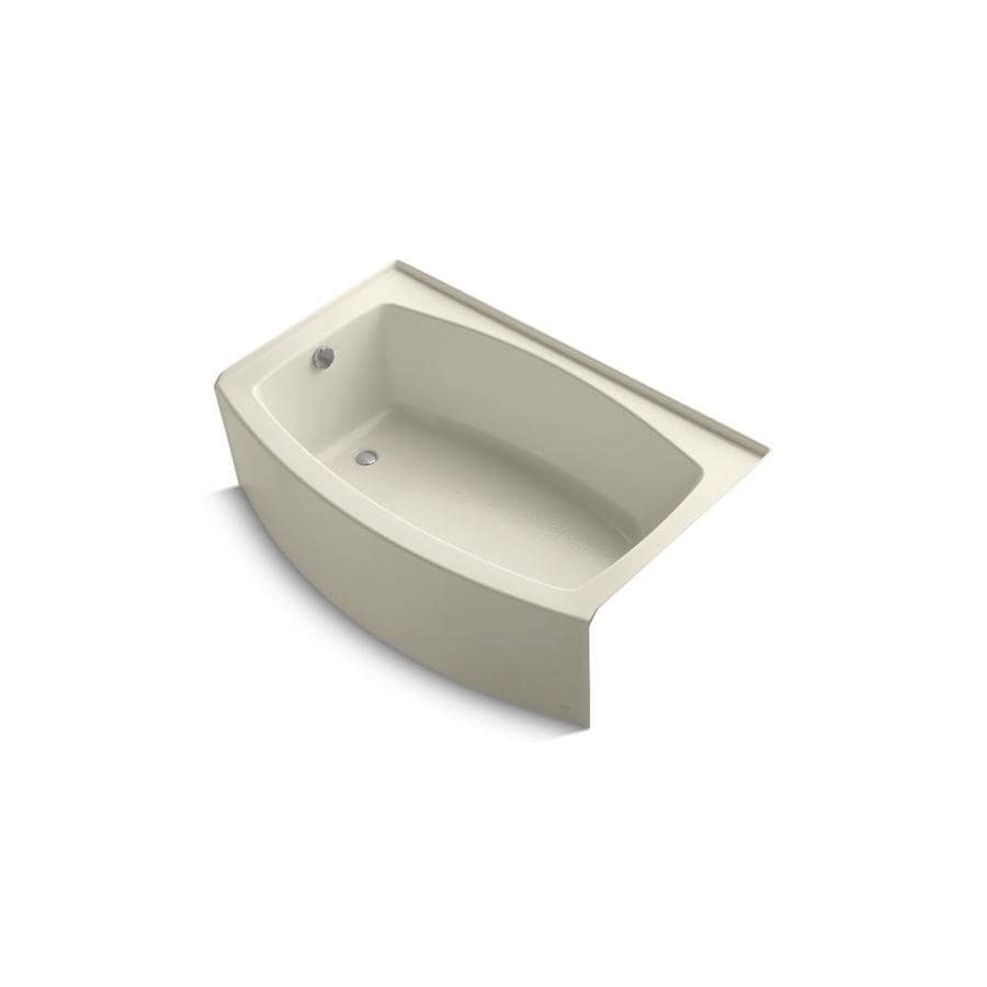 KOHLER Expanse Almond Acrylic Oval Skirted Bathtub with Left-Hand Drain (Common: 32-in x 60-in; Actual: 17-in x 32-in x 60-in)
