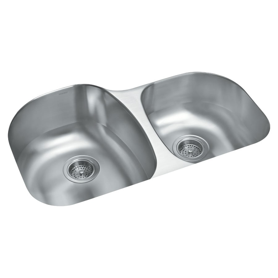 Sterling Cinch 20.5-in x 31.5-in Luster Double-Basin Stainless Steel Undermount Residential Kitchen Sink