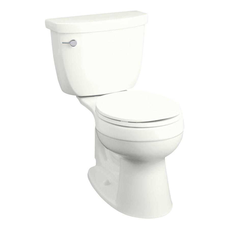 KOHLER Cimarron White 1.28-GPF (4.85-LPF) 12-in Rough-in Round 2-Piece Comfort Height Toilet