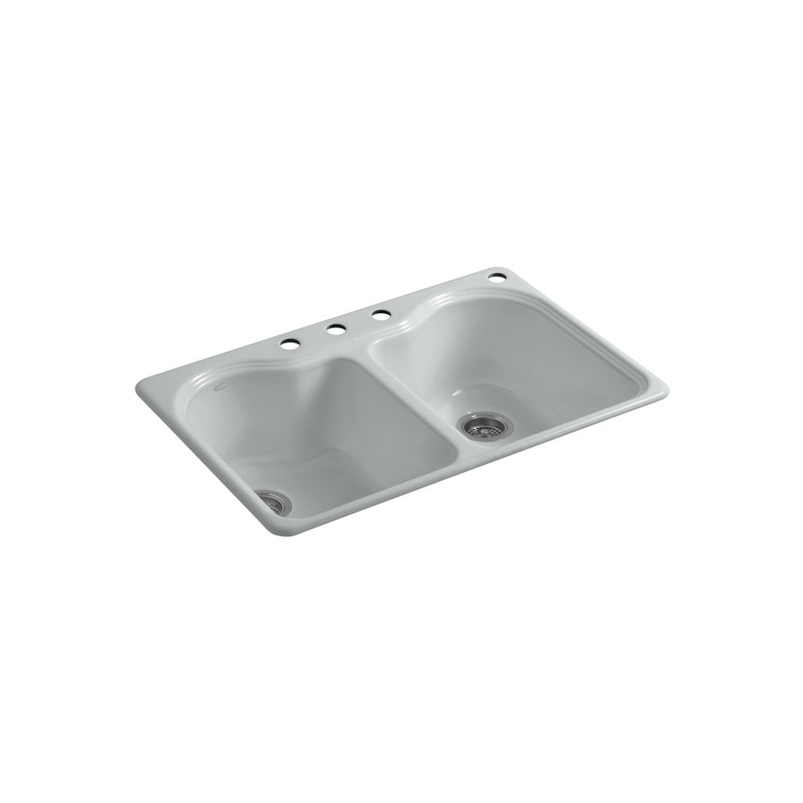 KOHLER Hartland 22-in x 33-in Ice Grey Double-Basin Cast Iron Drop-in 4-Hole Residential Kitchen Sink