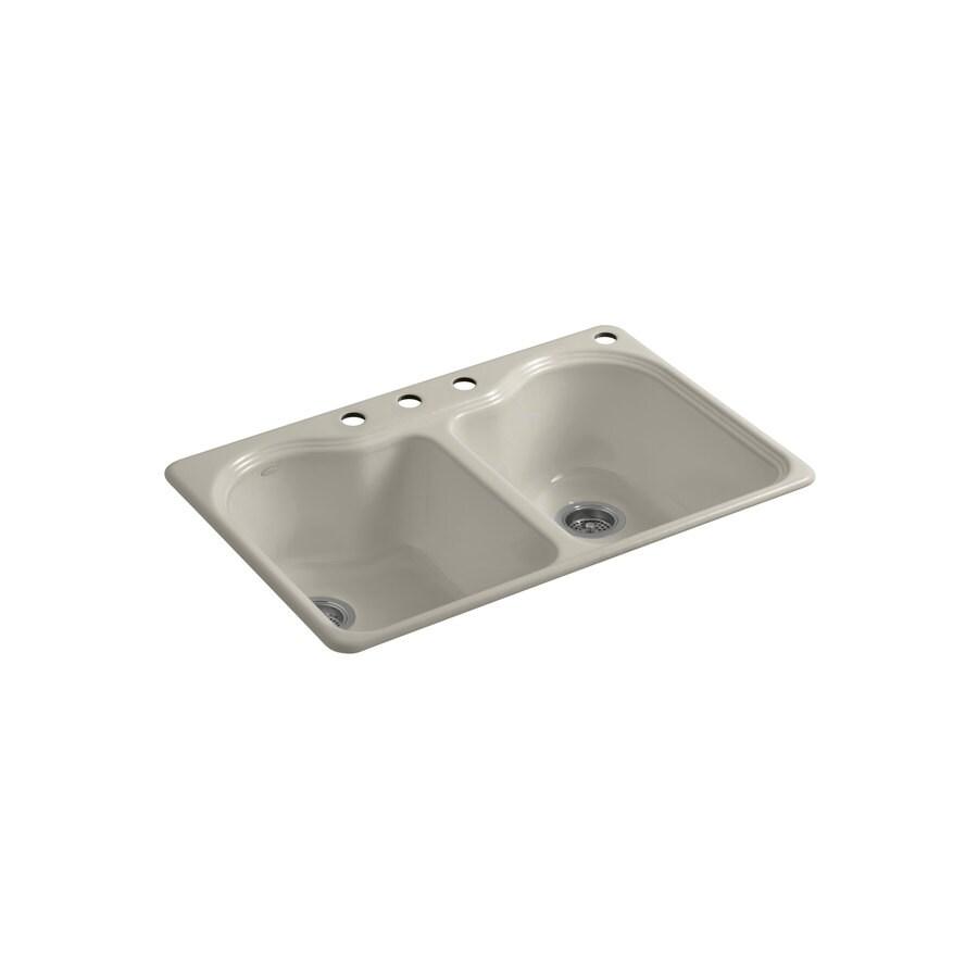 KOHLER Hartland 22-in x 33-in Sandbar Double-Basin Cast Iron Drop-in 4-Hole Residential Kitchen Sink