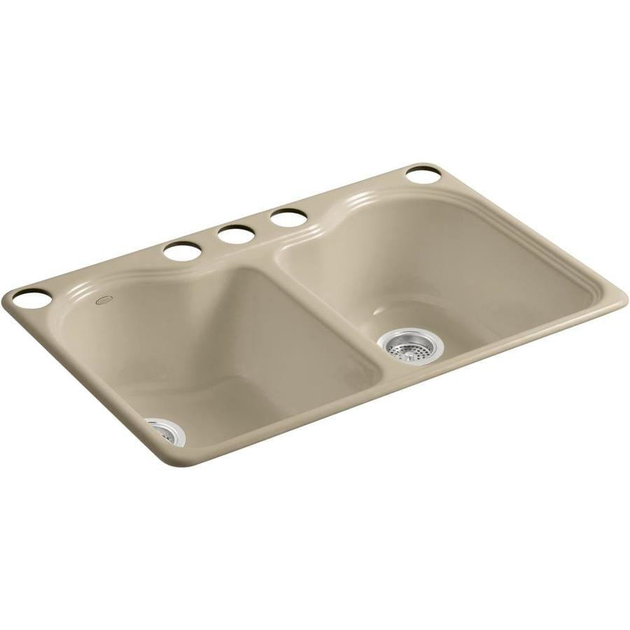 KOHLER Hartland 22-in x 33-in Mexican Sand Double-Basin Cast Iron Undermount 5-Hole Residential Kitchen Sink