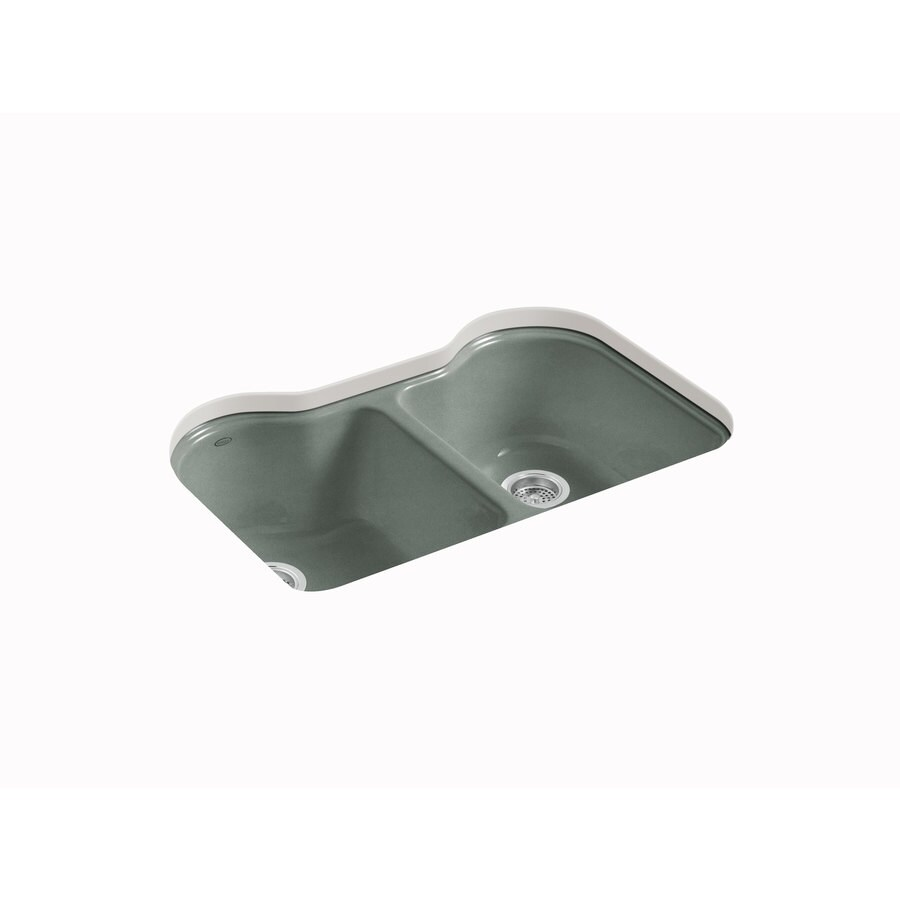 KOHLER Hartland 22-in x 33-in Basalt Double-Basin Cast Iron Undermount 5-Hole Residential Kitchen Sink