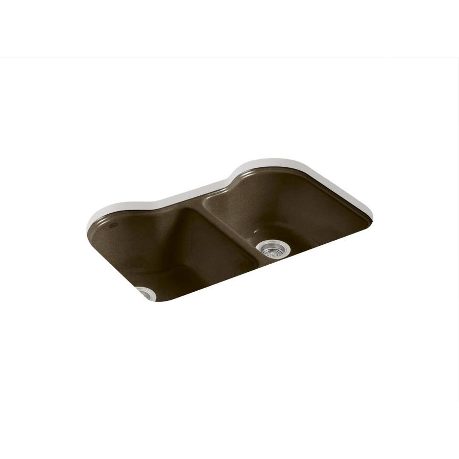 KOHLER Hartland 22-in x 33-in Black and Tan Double-Basin Cast Iron Undermount 5-Hole Residential Kitchen Sink