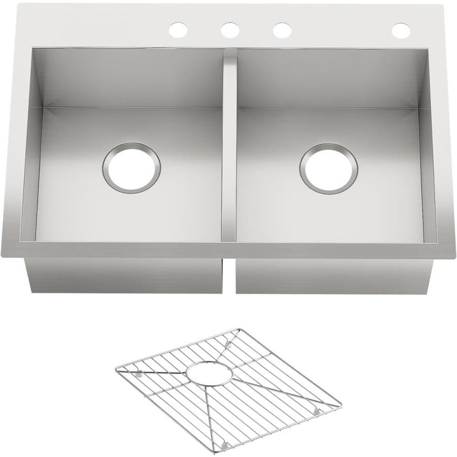 KOHLER Vault 22-in x 33-in Stainless Steel Double-Basin Drop-in 4-Hole Residential Kitchen Sink