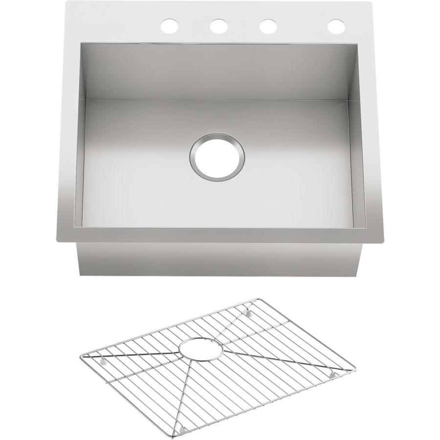 KOHLER Vault 22-in x 25-in Stainless Steel Single-Basin Drop-in 4-Hole Residential Kitchen Sink