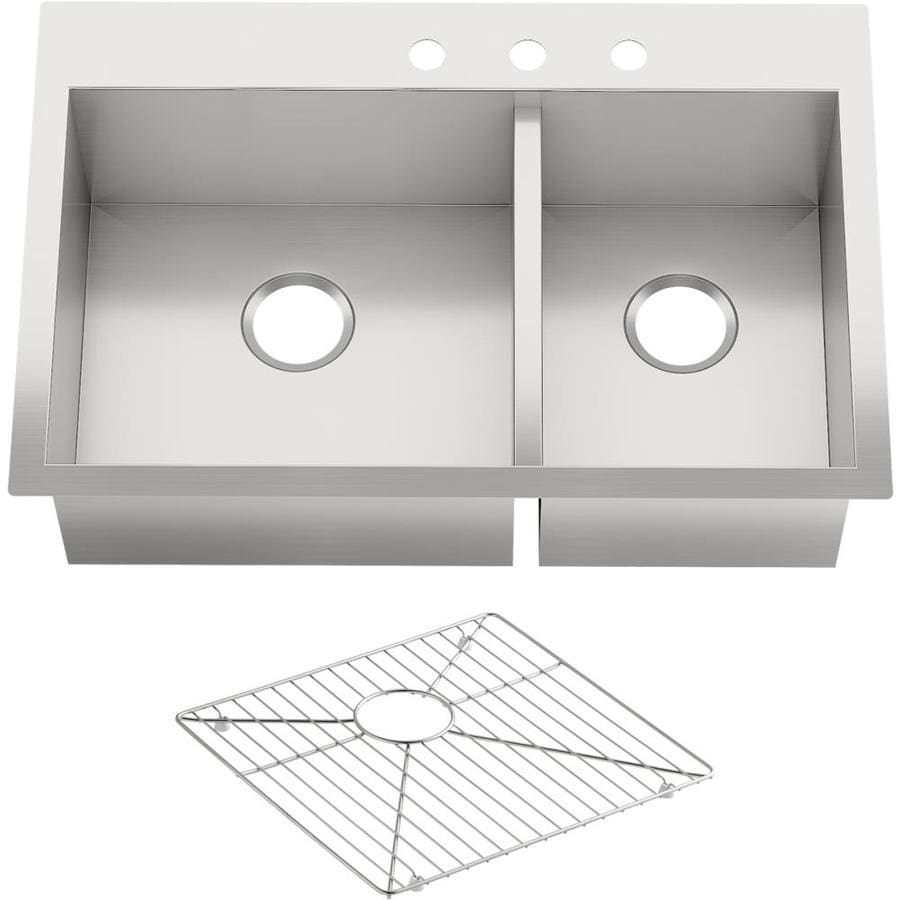KOHLER Vault 22-in x 33-in Stainless Steel Double-Basin Drop-in 3-Hole Residential Kitchen Sink