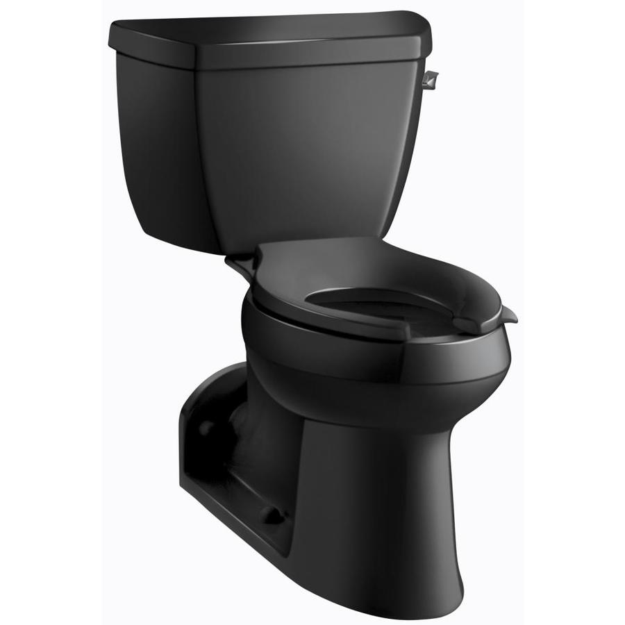 KOHLER Barrington Black Black 1.0-GPF (3.79-LPF) 4 Rough-In WaterSense Elongated 2-Piece Chair Height Rear Outlet Toilet