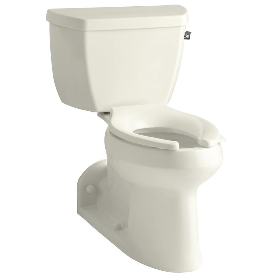 KOHLER Barrington Biscuit 1.0-GPF (3.79-LPF) 4 Rough-In WaterSense Elongated 2-Piece Chair Height Rear Outlet Toilet