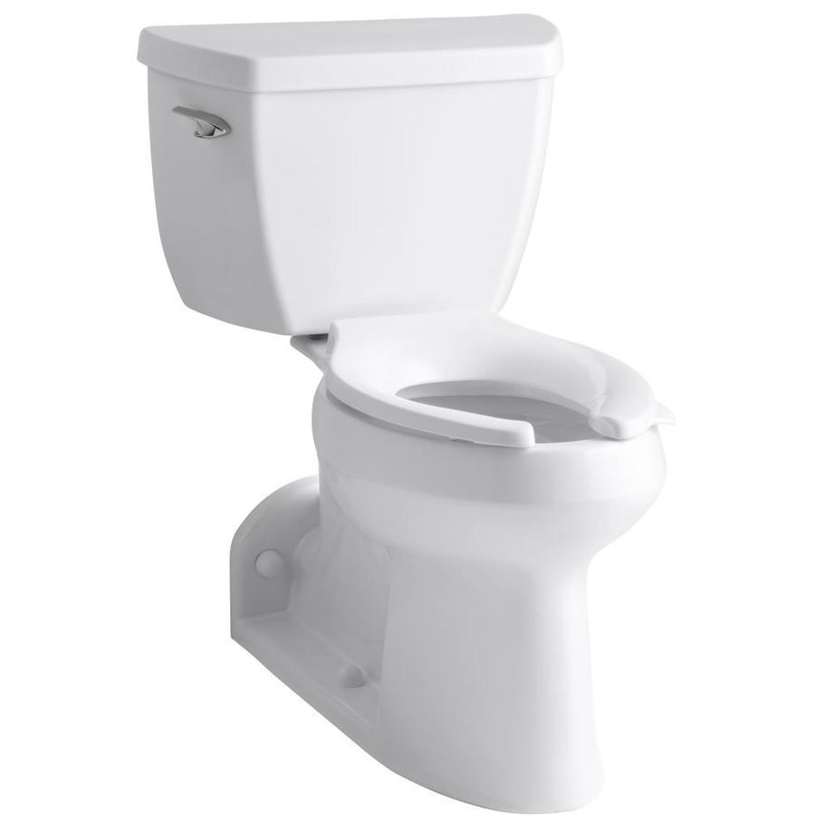 KOHLER Barrington White 1.0-GPF (3.79-LPF) 4 Rough-In WaterSense Elongated 2-Piece Chair Height Rear Outlet Toilet