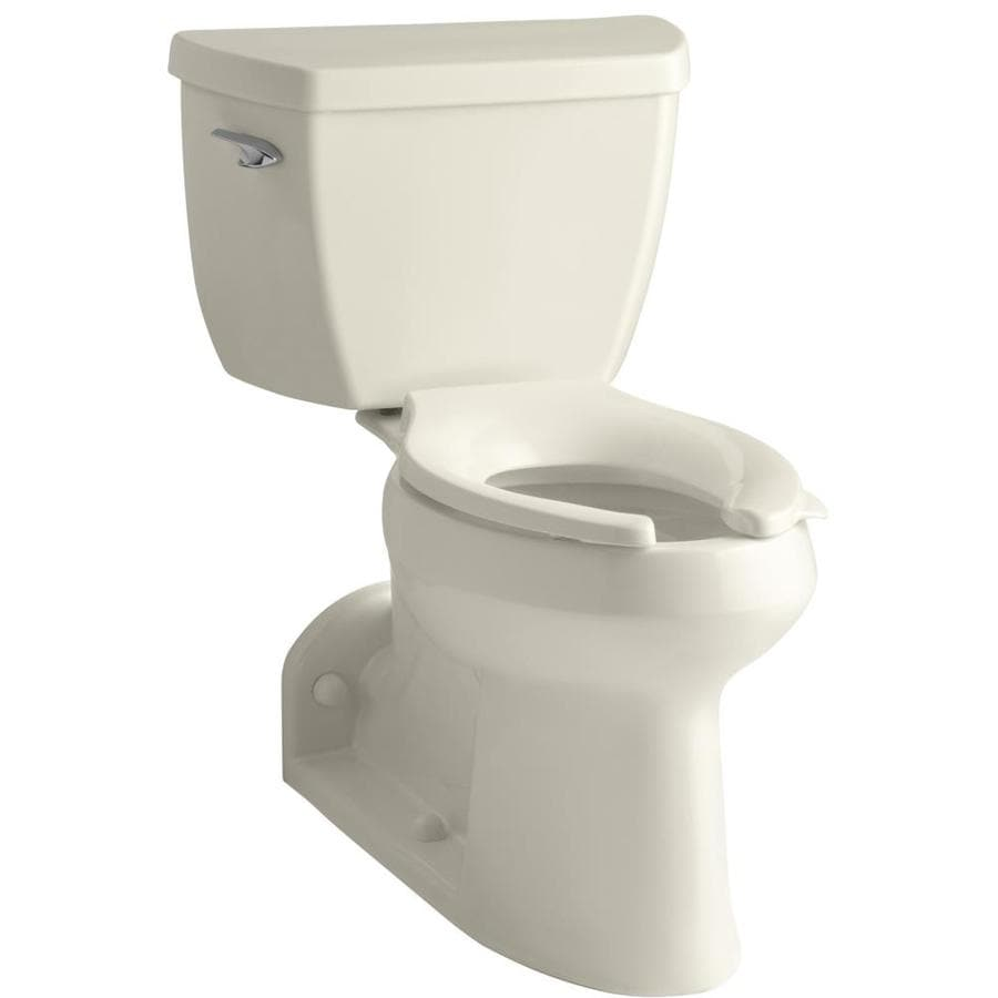 KOHLER Barrington Almond 1.0-GPF (3.79-LPF) 4 Rough-In WaterSense Elongated 2-Piece Chair Height Rear Outlet Toilet