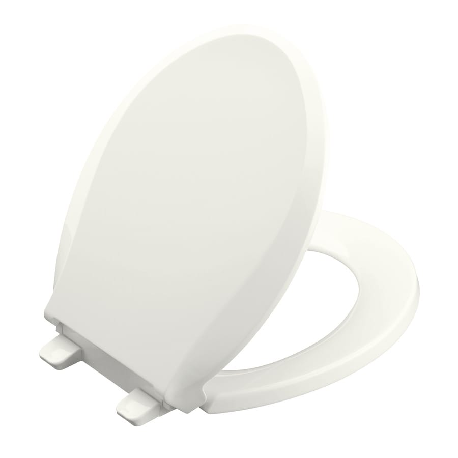 KOHLER Cachet White Plastic Round Slow-Close Toilet Seat