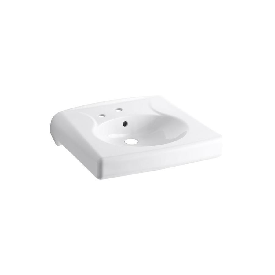 KOHLER Brenham White Wall-Mount Rectangular Bathroom Sink with Overflow