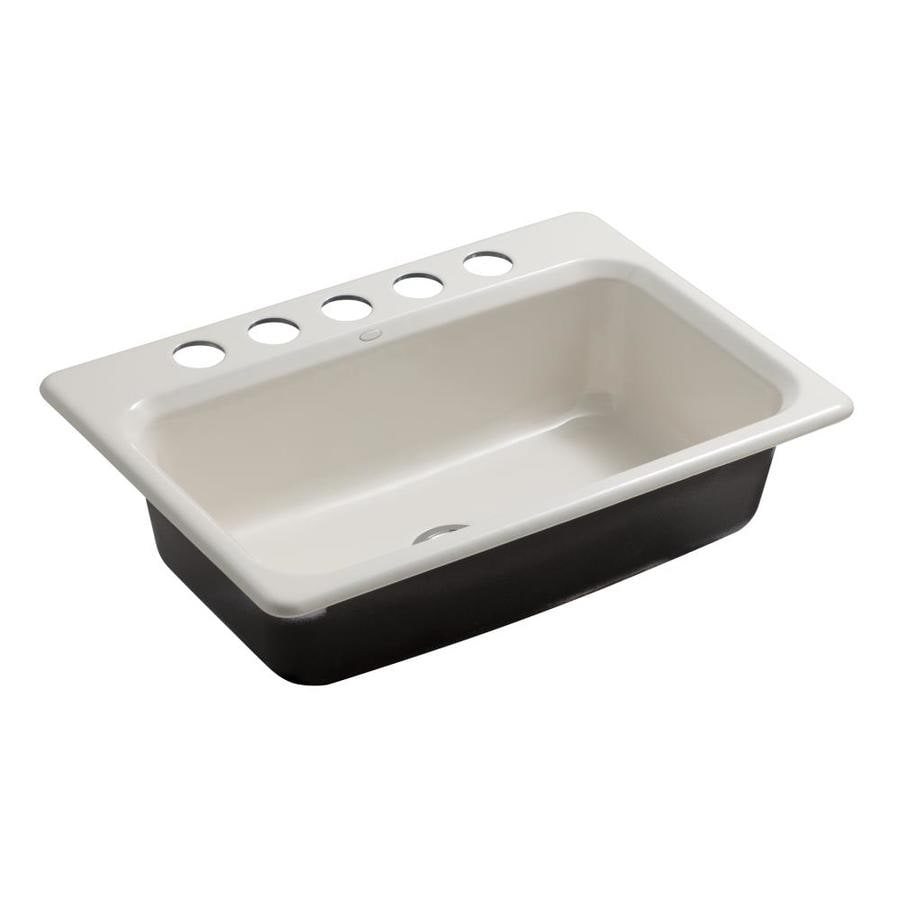 KOHLER Bakersfield 22-in x 31-in Biscuit Single-Basin Cast Iron Undermount 5-Hole Residential Kitchen Sink