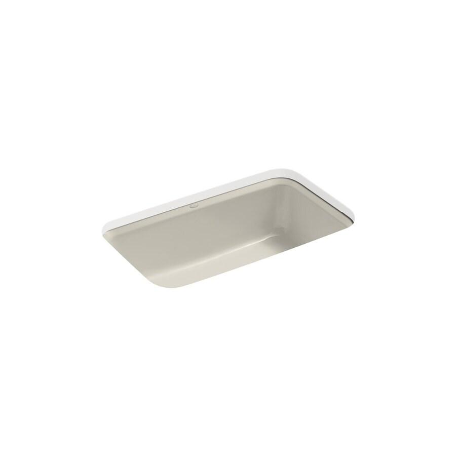 KOHLER Bakersfield 22-in x 33-in Sandbar Single-Basin Cast Iron Undermount 5-Hole Residential Kitchen Sink