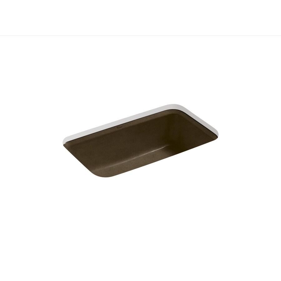 KOHLER Bakersfield 22-in x 31-in Black and Tan Single-Basin Cast Iron Undermount 5-Hole Residential Kitchen Sink
