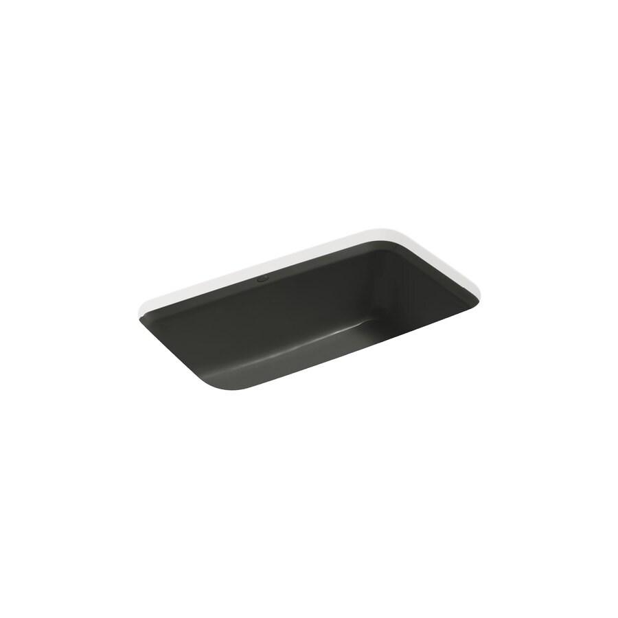 KOHLER Bakersfield 22-in x 33-in Caviar Single-Basin Cast Iron Undermount 5-Hole Residential Kitchen Sink