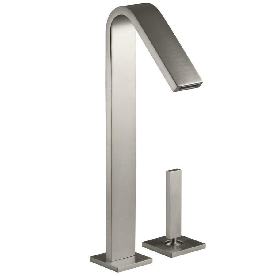 KOHLER Loure Vibrant Brushed Nickel 1-Handle 2-Hole WaterSense Bathroom Faucet (Drain Included)