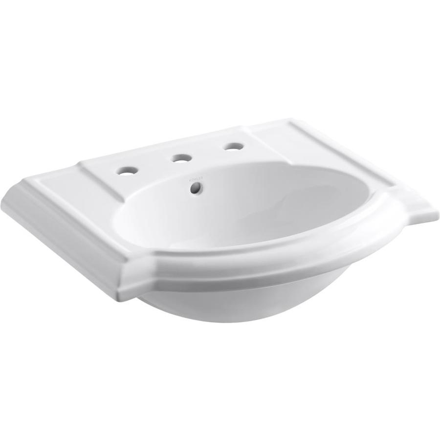 KOHLER Devonshire 24.13-in L x 19.75-in W White Vitreous China Oval Pedestal Sink Top