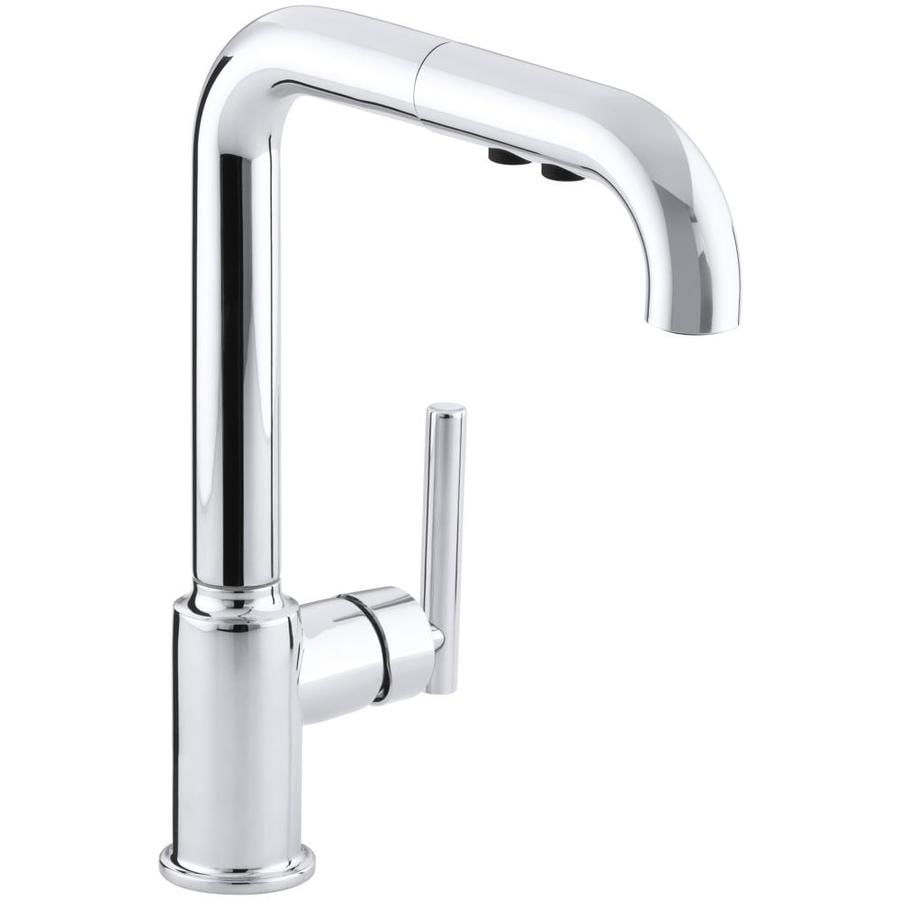 KOHLER Purist Polished Chrome 1-Handle Pull-Out Kitchen Faucet