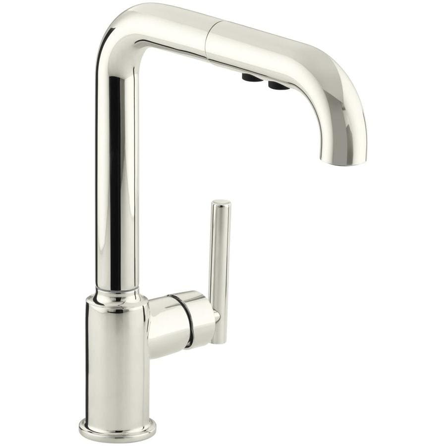 Shop Kohler Purist Vibrant Polished Nickel 1 Handle Pull Out Kitchen Faucet At