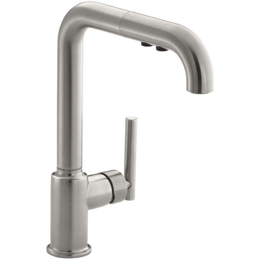 shop kohler purist vibrant stainless 1 handle pull out kitchen faucet