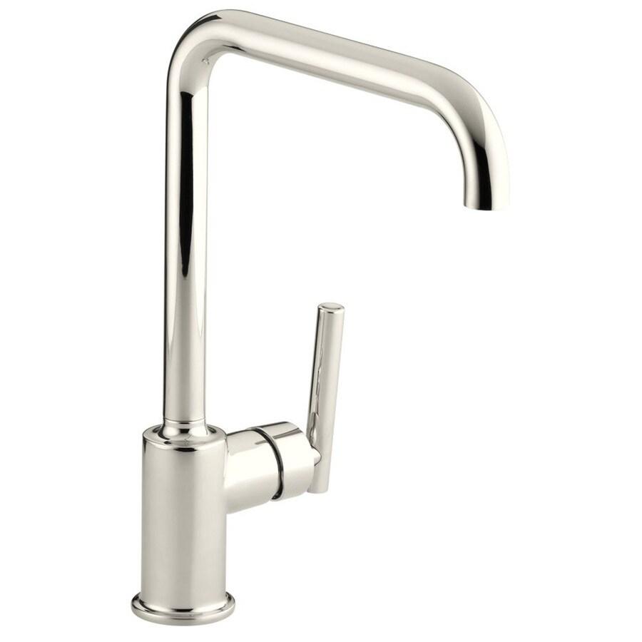 KOHLER Purist Vibrant Polished Nickel 1-Handle High-Arc Kitchen Faucet