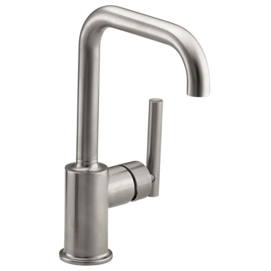 shop kohler purist vibrant stainless 1 handle high arc kitchen faucet