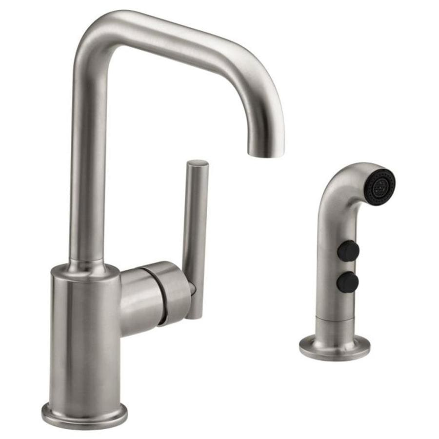 Kohler Kitchen Faucet With Side Spray : Kohler purist vibrant stainless handle high arc kitchen faucet with side spray at lowes