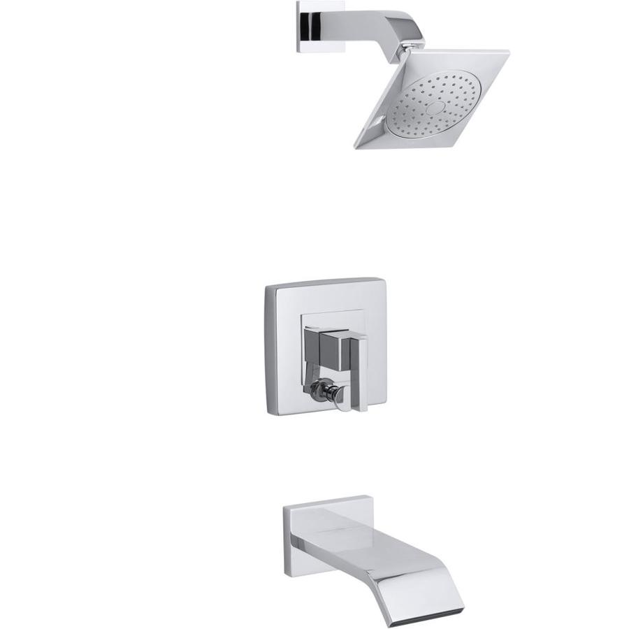 KOHLER Loure Polished Chrome 1-Handle Bathtub and Shower Faucet Trim Kit with Single Function Showerhead