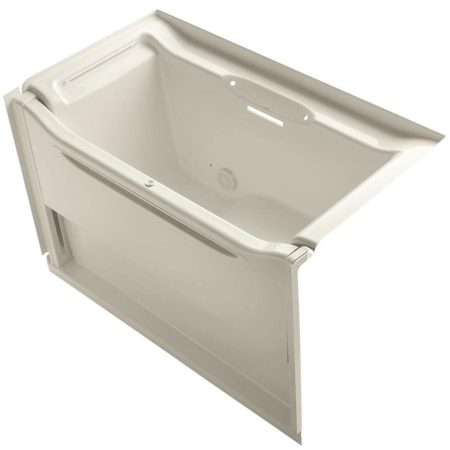 KOHLER Elevance Almond Acrylic Rectangular Alcove Bathtub with Left-Hand Drain (Common: 34-in x 60-in; Actual: 39.25-in x 33.5-in x 60.25-in)