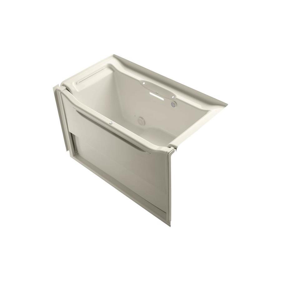 KOHLER Elevance 60.25-in L x 33.5-in W x 39.25-in H Almond Acrylic Rectangular Alcove Air Bath