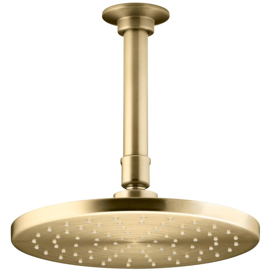 KOHLER Contemporary 8-in 2.5-GPM (9.5-LPM) Vibrant Moderne Brushed Gold 1-Spray Rain Showerhead