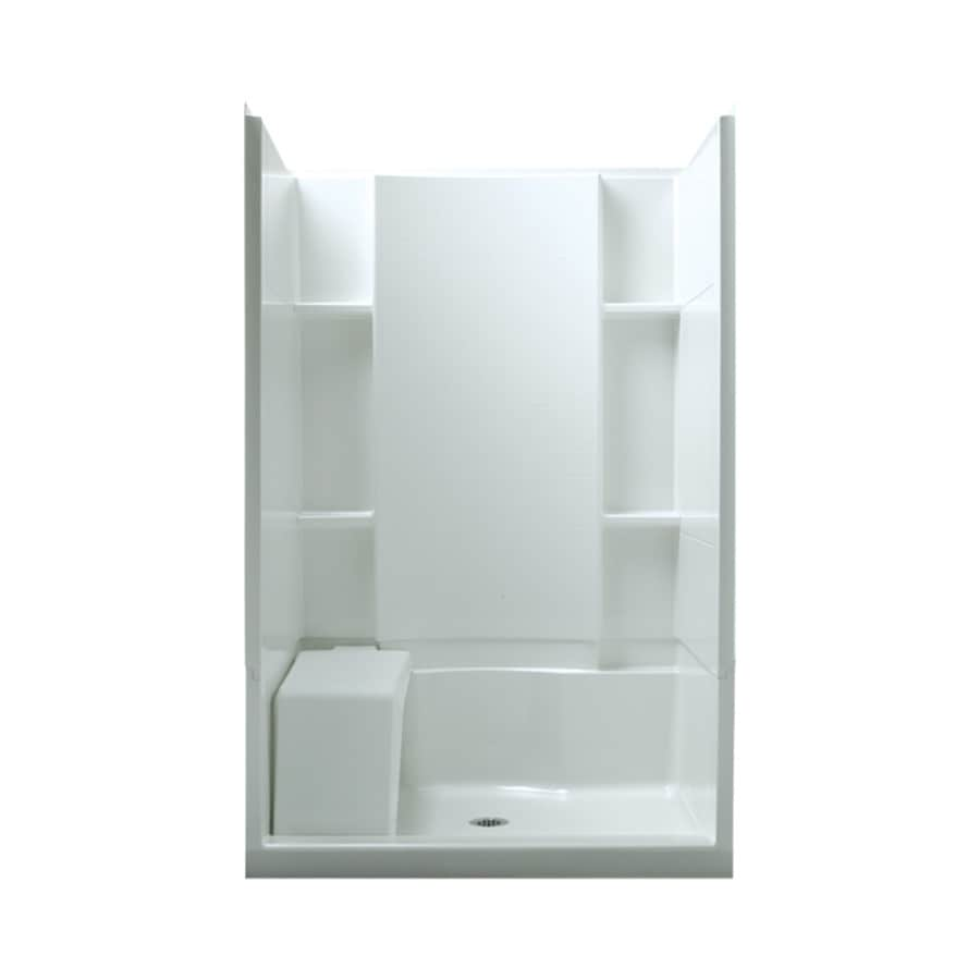 Shop Sterling Accord White Vikrell Wall And Floor 4 Piece Alcove Shower Kit Common 48 In X 36