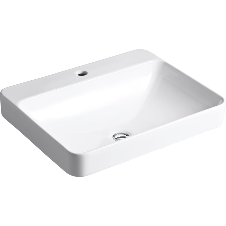 Vox White Rectangular Bathroom Sink with Overflow Product Photo
