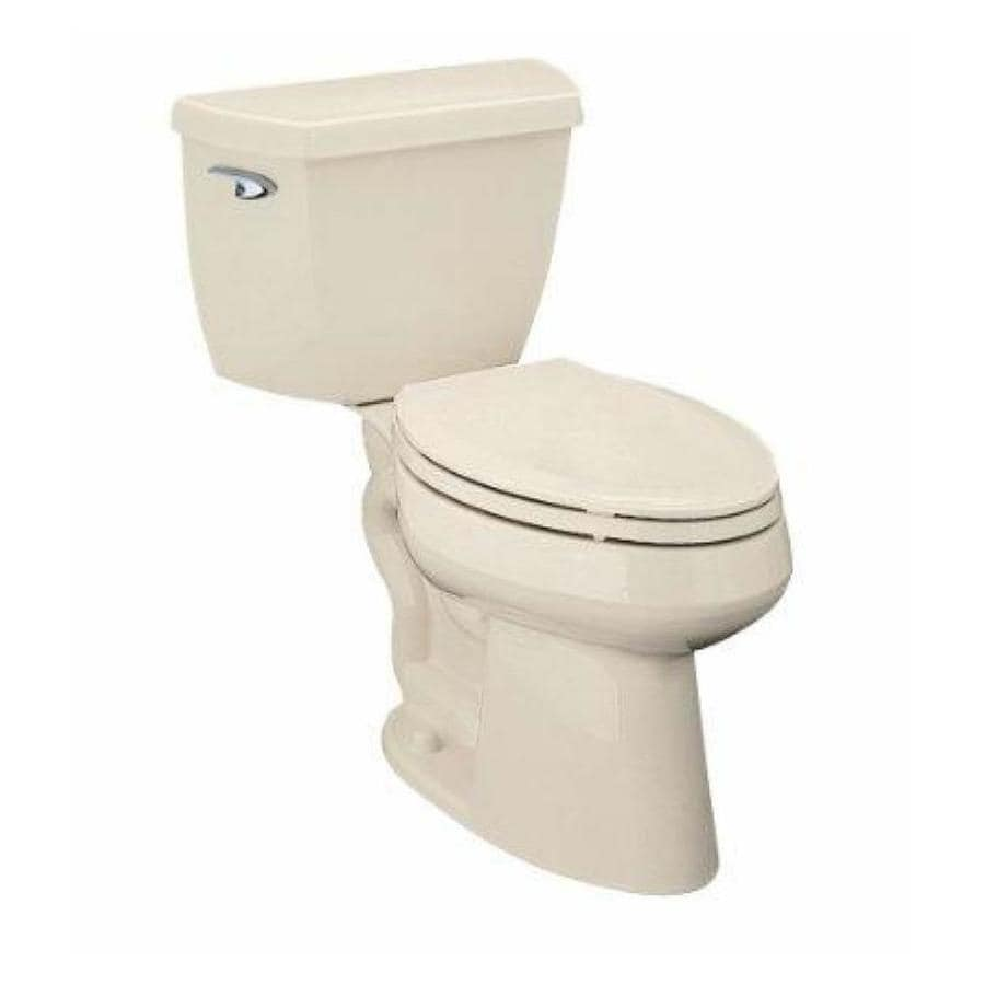 KOHLER Highline Almond 1.28-GPF (4.85-LPF) 12 Rough-In WaterSense Elongated 2-Piece Chair Height Toilet