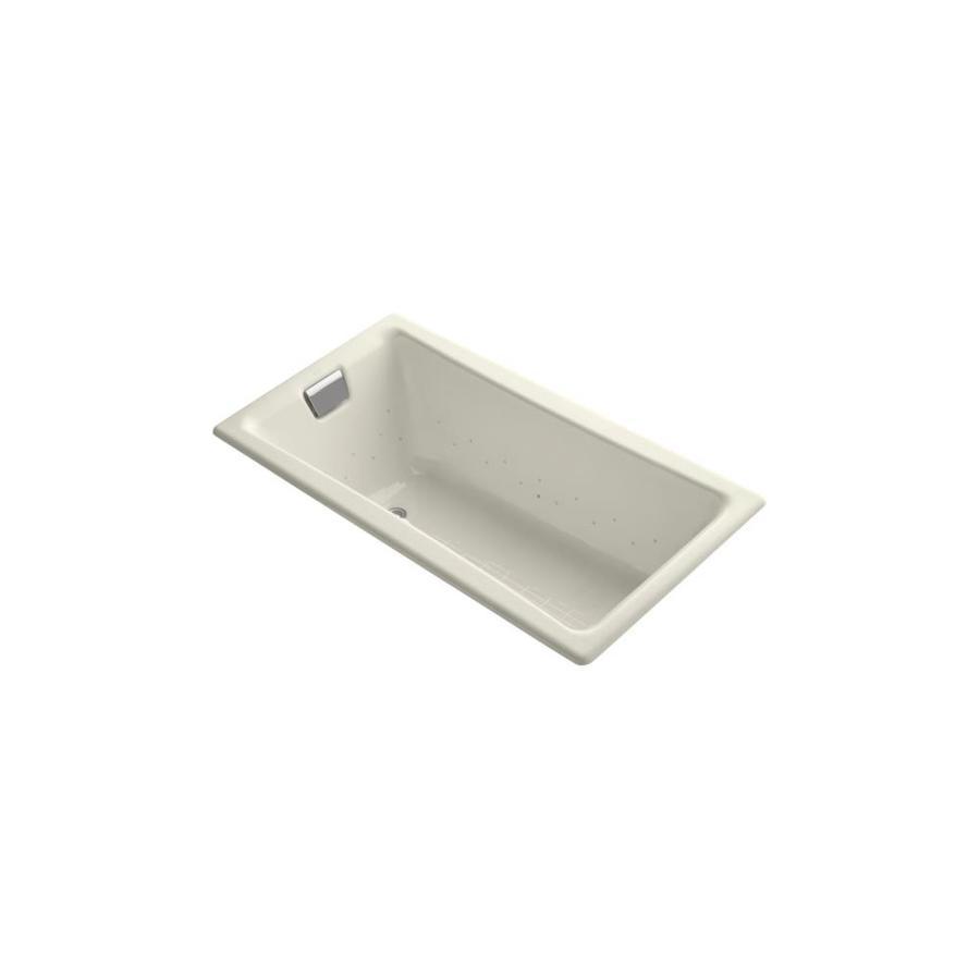 KOHLER Tea-for-Two 60-in L x 32-in W x 18.25-in H Biscuit Cast Iron 2-Person Rectangular Drop-In Air Bath