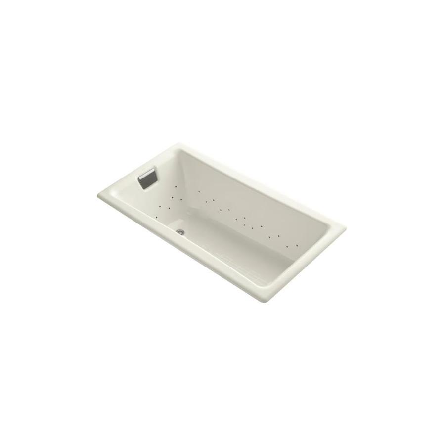 KOHLER Tea-for-Two 60-in L x 32-in W x 18.25-in H Sandbar Cast Iron 2-Person Rectangular Drop-In Air Bath