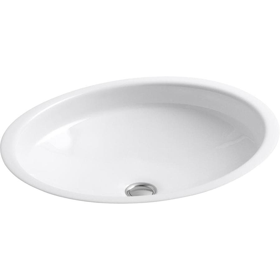 KOHLER Canvas White Cast Iron Undermount Oval Bathroom Sink with Overflow