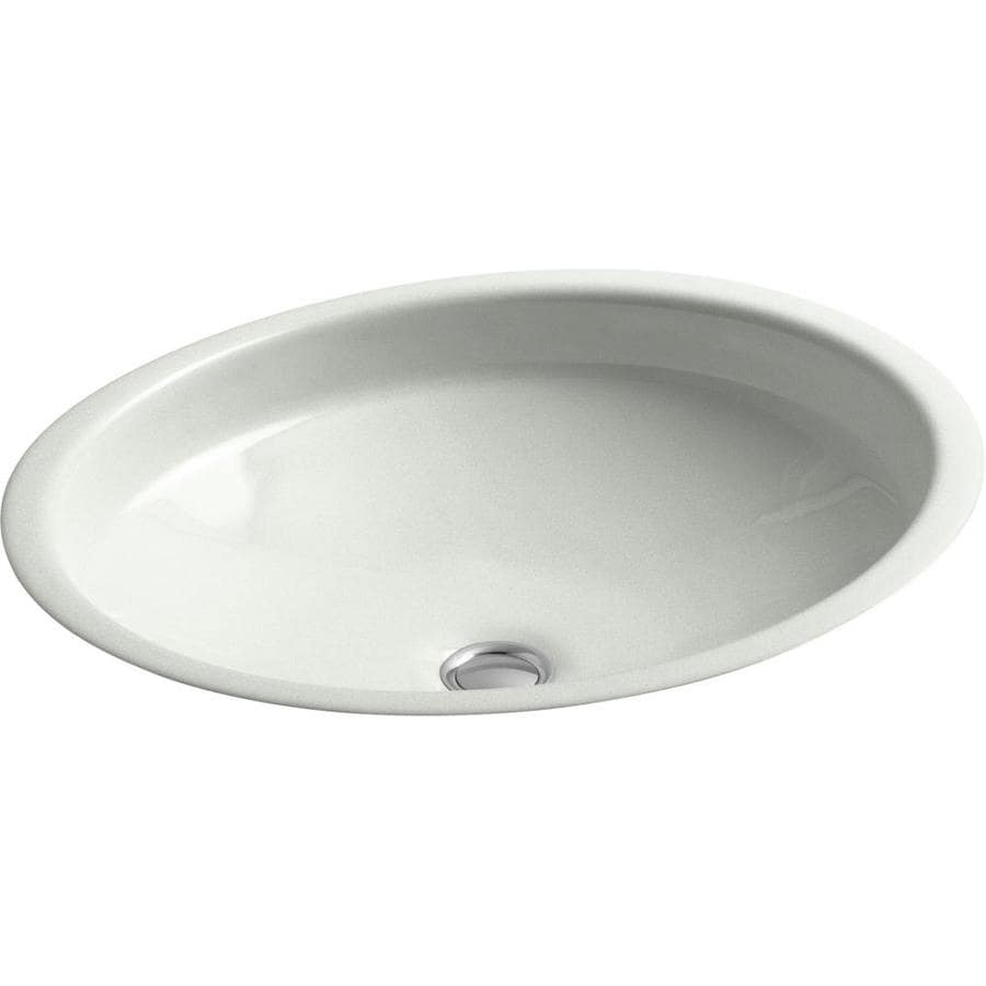 KOHLER Canvas Sea Salt Cast Iron Undermount Oval Bathroom Sink with Overflow