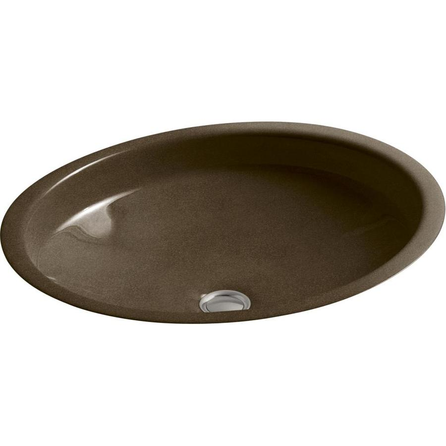KOHLER Canvas Black and Tan Cast Iron Undermount Oval Bathroom Sink with Overflow