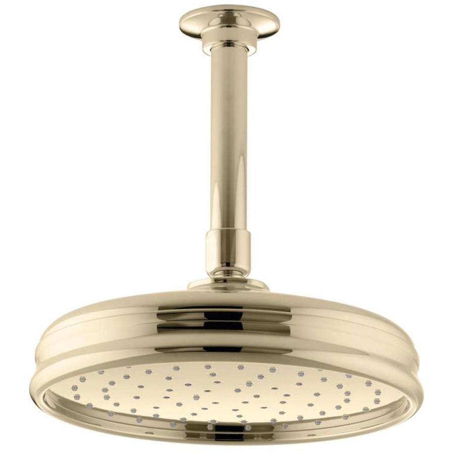 KOHLER Traditional 8.4375-in 2.5-GPM (9.5-LPM) Vibrant French Gold 1-Spray Rain Showerhead