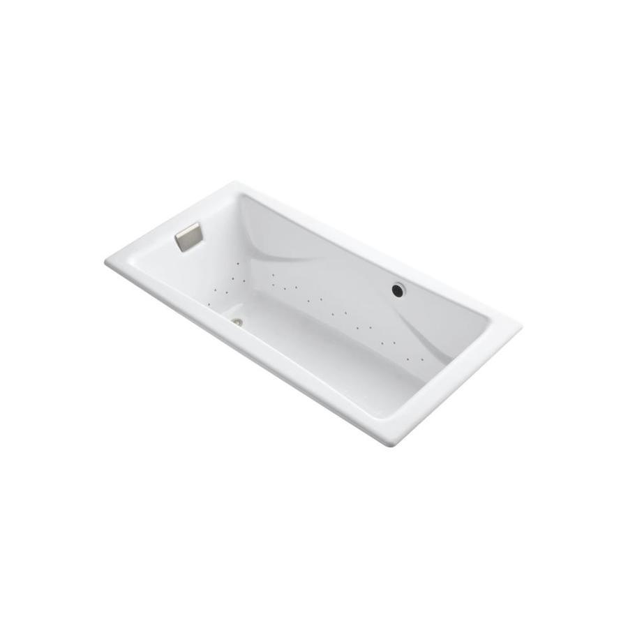 KOHLER Tea-for-Two 71.75-in L x 36-in W x 20.875-in H White Cast Iron 2-Person Rectangular Drop-In Air Bath