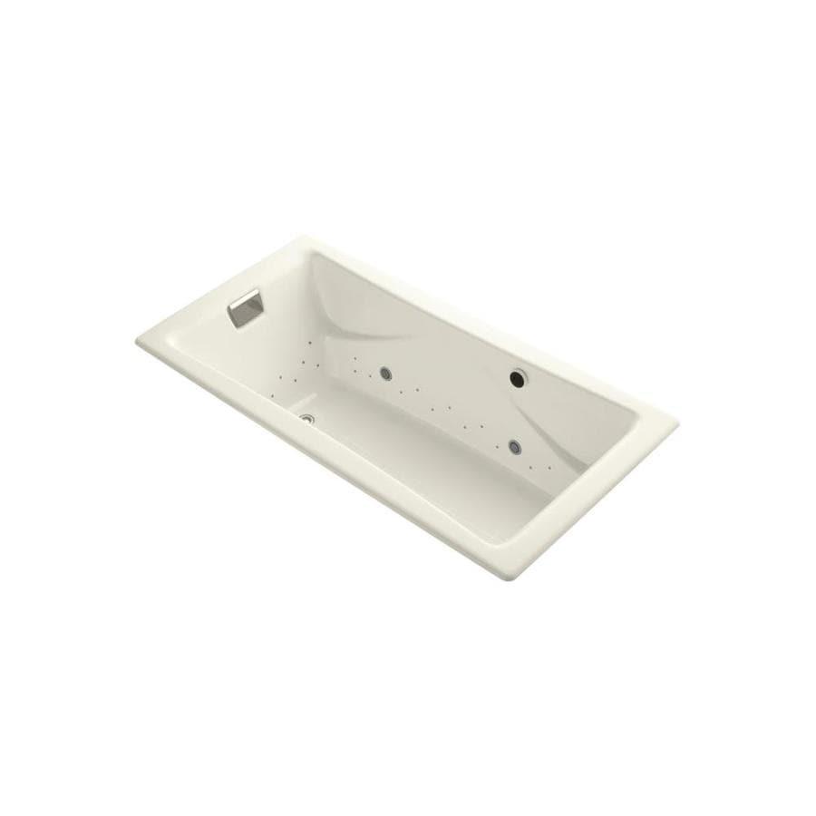 KOHLER Tea-for-Two 71.75-in L x 36-in W x 20.875-in H Biscuit Cast Iron 2-Person Rectangular Drop-In Air Bath