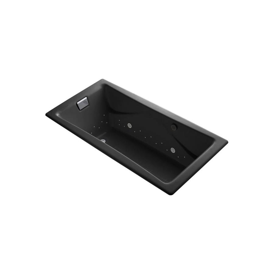 KOHLER Tea-for-Two 71.75-in L x 36-in W x 20.875-in H Black Black Cast Iron 2-Person Rectangular Drop-In Air Bath