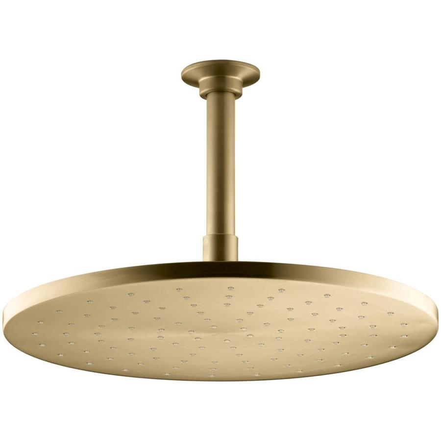 KOHLER Traditional 12-in 2.5-GPM (9.5-LPM) Vibrant Moderne Brushed Gold 1-Spray Rain Showerhead