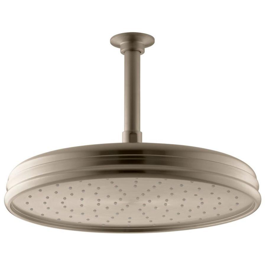 KOHLER Traditional 12.4375-in 2.5-GPM (9.5-LPM) Vibrant Brushed Bronze 1-Spray Rain Showerhead