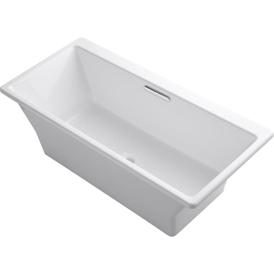 KOHLER Reve White Cast Iron Rectangular Freestanding Bathtub with Center Drain (Common: 32-in x 67-in; Actual: 22.0625-in x 31.5-in x 66.9375-in)